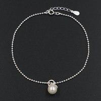 Nieuwe Zoetwaterparels Solid Real 925 Sterling Zilveren Kralen Ketting Enkelbanden Voet Charmes voor Vrouwen Meisje Gift