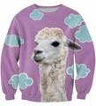 Плюс Szie ЛАМА Животных Sweasthrit Fahsion Одежда сексуальная Crewneck Перемычка Топы Женщины Мужчины