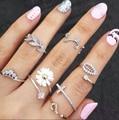 2015 nuevo estilo lindo dulce Crystal Rhinestone 3 unids \ set hoja de la corona cruzar Midi Knuckle Finger Joint anillos mujeres