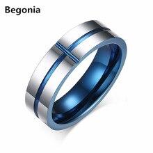 Calidad superior de 6mm de ancho anillo de acero de Tungsteno anillos de boda para los hombres anillos de carburo de azul y plata chapada en color tamaño 7-12