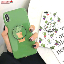 Glossy Marble Art Cactus Case For iphone 11 Pro XS Max X XRCase 7 8 Plus 6 6S Back Cover Fashion IMD Cases Retro Capa