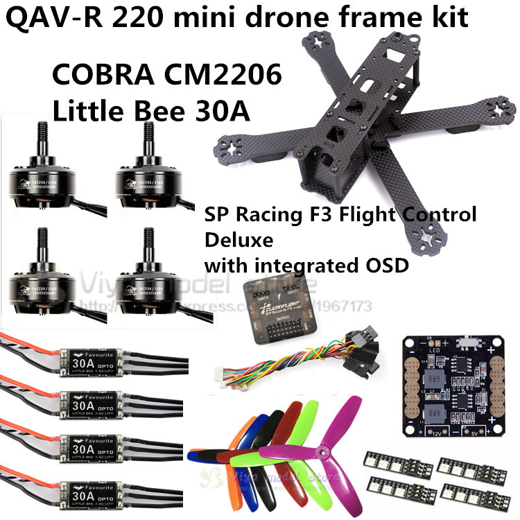 QAV-R 220 frame quadcopter pure carbon frame 4*2*2mm + COBRA CM2206 Motor + SP Racing F3 Flight controller+ Little Bee 30A ESC carbon fiber frame diy rc plane mini drone fpv 220mm quadcopter for qav r 220 f3 6dof flight controller rs2205 2300kv motor