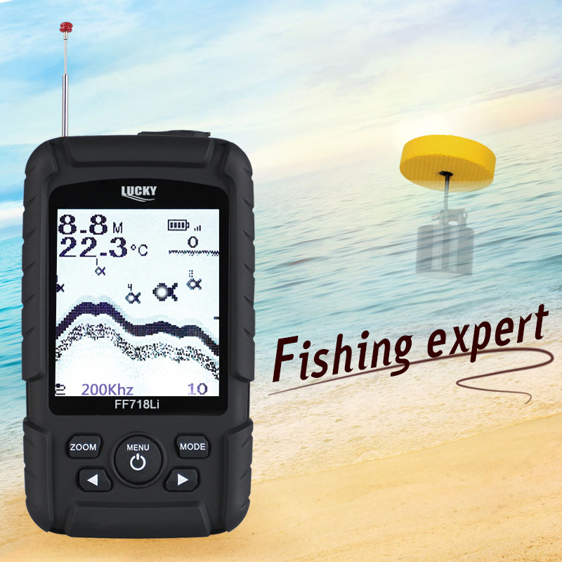 LUCKY FF718LiD-T Real-waterproof Fish Finder 100M Detection Muti-language Depth Alarm 200KHz Dual Sonar Frequency Sonar #B0 эхолот скат два луча lucky ff 718 duo