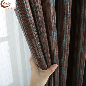 [Byetee] современные Жаккардовые шенильские плотные кухонные двери шторы для спальни Гостиная окна двери полосатые шторы