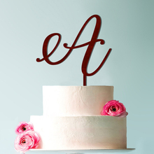 Letter a cake topper, rustic custom wood wedding toppers, initial topper for