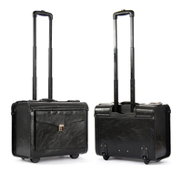 Letrend Men Retro Rolling Luggage Caster 16 Inch Cabin Travel Bag Leather Wheel Suitcases Business Trolley