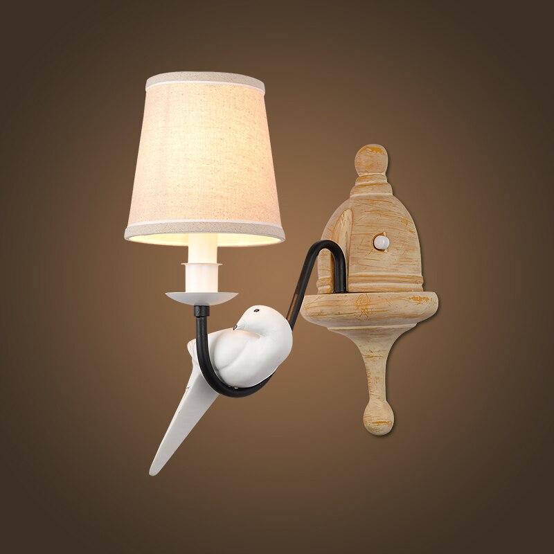 Nordic Modern E14 LED Resin Fabric Wall Sconce Bird Shape Metal Painting Wall Lamp for Home Lighting Aisle Corridor Light