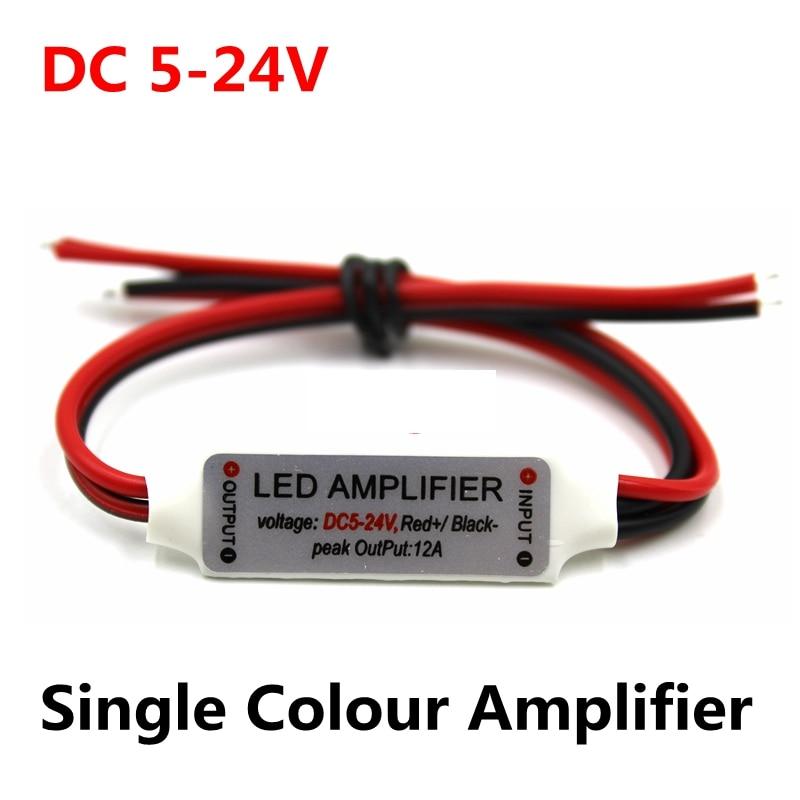 DC 5V-12V-24V 12A Mini Single Color LED Amplifier Repeater For LED Strip Light 5050/2835/3528//5630/3014