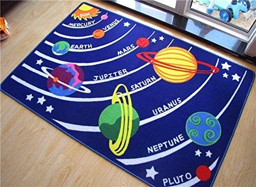 Tapis d'étoiles galaxie éducatif pour enfants tapis bleu système solaire tapis amusant tapis pour salle de jeux et pépinière