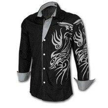 Hombres camiseta marca 2018 nueva moda hombres camisa de vestir de manga  larga de China dragón 5c5de429f66