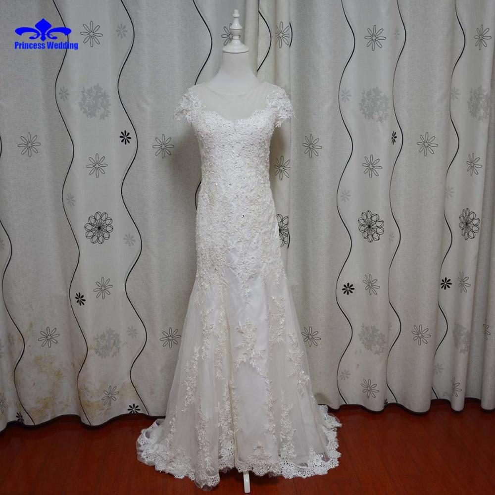 Real Photo Custom Size Lace Mermaid Court Train Wedding Dress 2017 Fashionable Style Bridal Gown vestido