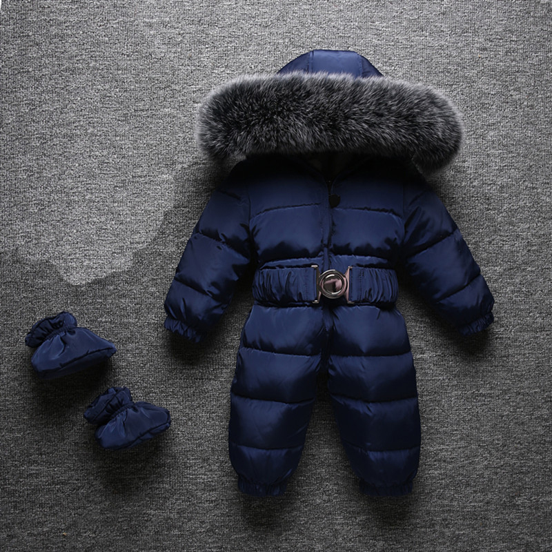 21cde319d0bb Dollplus 2018 Winter Warm Baby Rompers Jumpsuit Children Duck Down ...