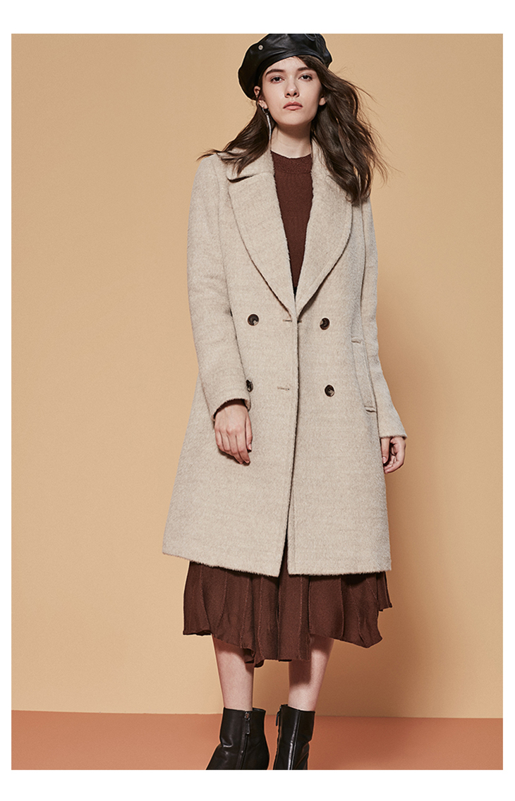 ONLY womens' winter new wool long thick woolen coat Fixed waist belt Double breasted Double breasted design|11834S543 19