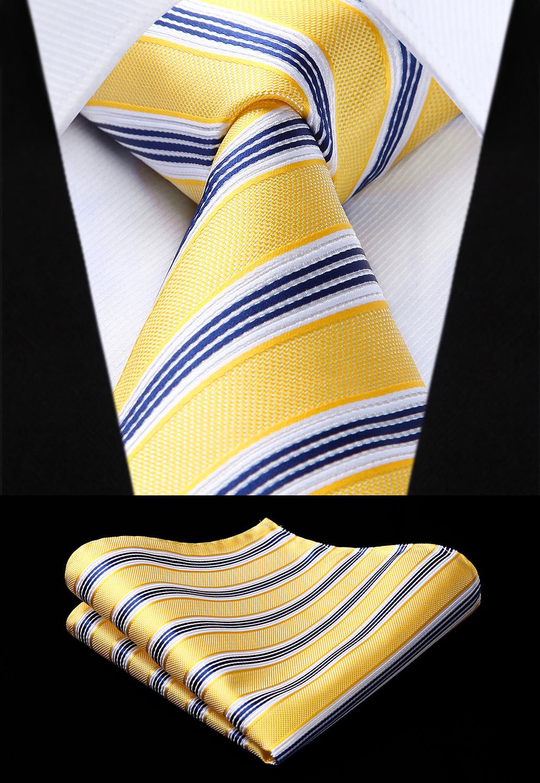 Woven Men Yellow Blue Tie Striped Necktie Handkerchief Set#TS727Y8S Party Wedding Classic Fashion Pocket Square Tie
