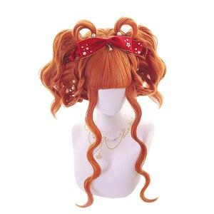 Image 3 - L email peluca larga de pelo ondulado para mujer, peluca de estilo Harajuku para Halloween, pelo sintético resistente al calor, color naranja