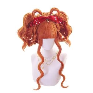 Image 3 - L email peruk uzun turuncu Lolita peruk kadın saç dalgalı Cosplay peruk cadılar bayramı Harajuku peruk isıya dayanıklı sentetik saç