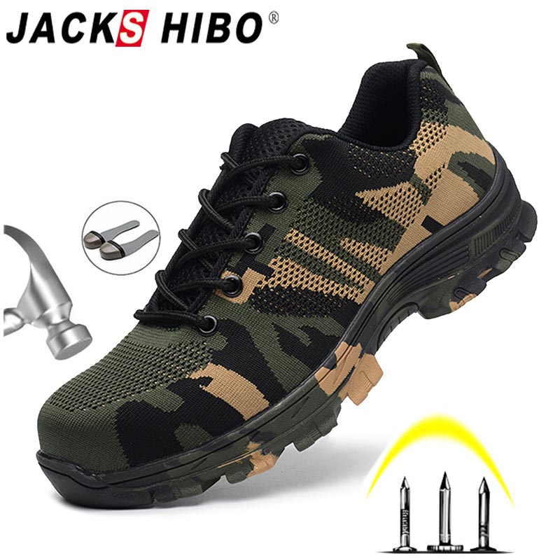 JACKSHIBO Men's Safety Shoes Steel Toe Work/Safety Boots Plus Size Men Security Puncture Proof Boots Work Breathable Sneakers