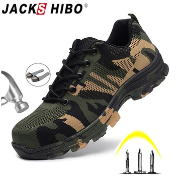 JACKSHIBO Men's Safety Shoes Steel Toe Work/Safety Boots Plus Size Men Security Puncture Proof Boots Work Breathable Sneakers large size men casual comfort mesh steel toe cap work safety summer shoes puncture proof tooling security boots protect footwear