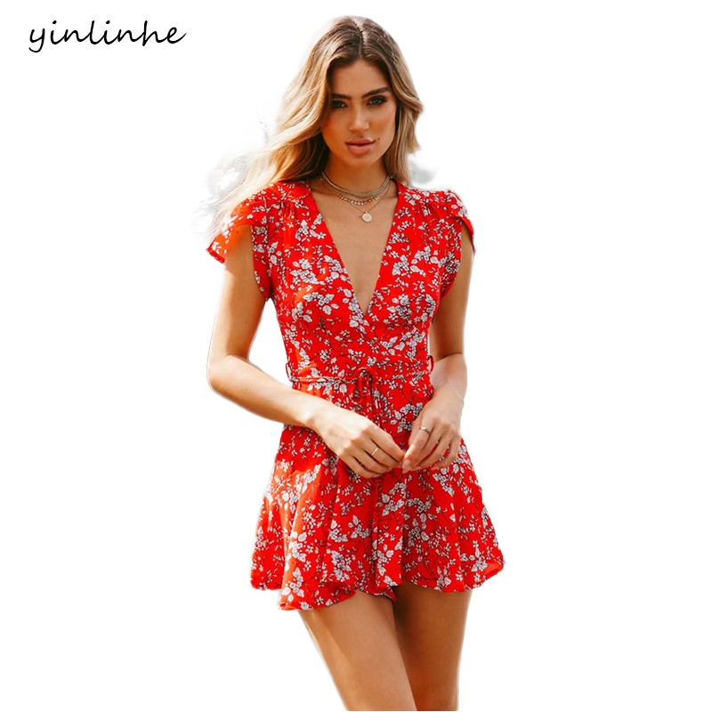 36caae8252f yinlinhe Red Floral Playsuit Women V neck Sexy Short Jumpsuit Romper Summer  Playsuit Short Sleeve Slim