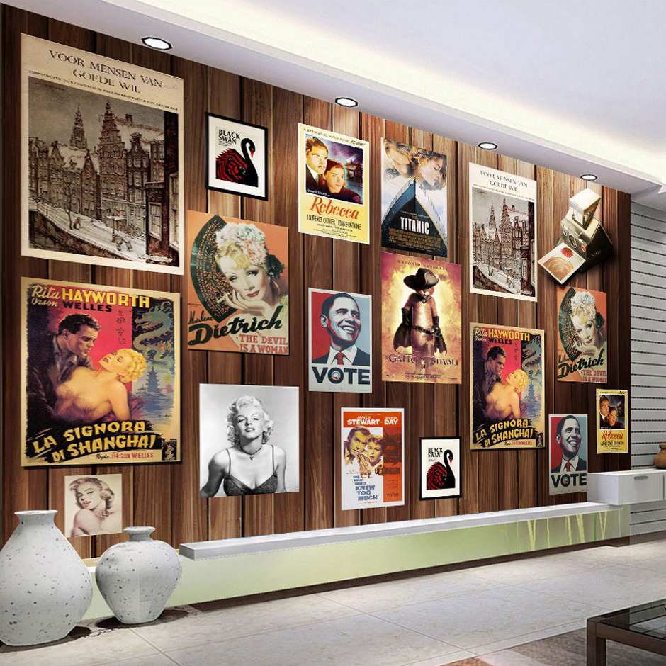 A board poster design - Custom Photo Wallpaper Nostalgic Poster Wood Board Backdrop Painting Wall Pictures For Living Room Bedroom Mural