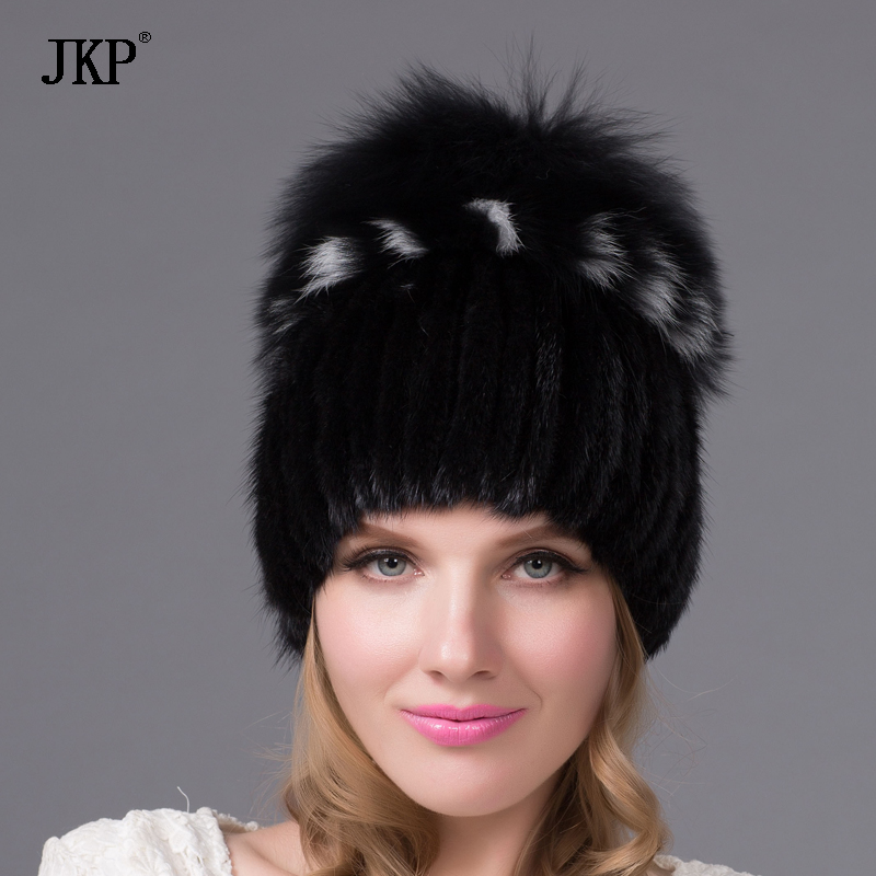 JKP womens fur hats knitted Mink Fur Hat female with fox fur pompom Cap lining Women