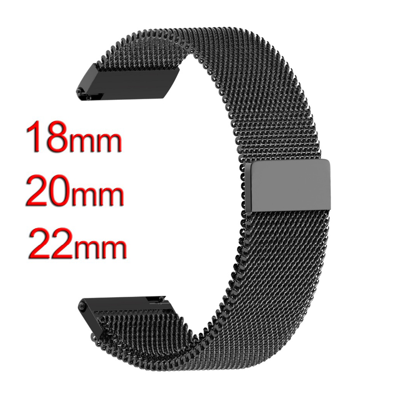 все цены на 18mm 20mm 22mm watchbands Smart Watch Metal Strap Magnetic Release Milanes Stainless Steel watch Band men & women black silver онлайн