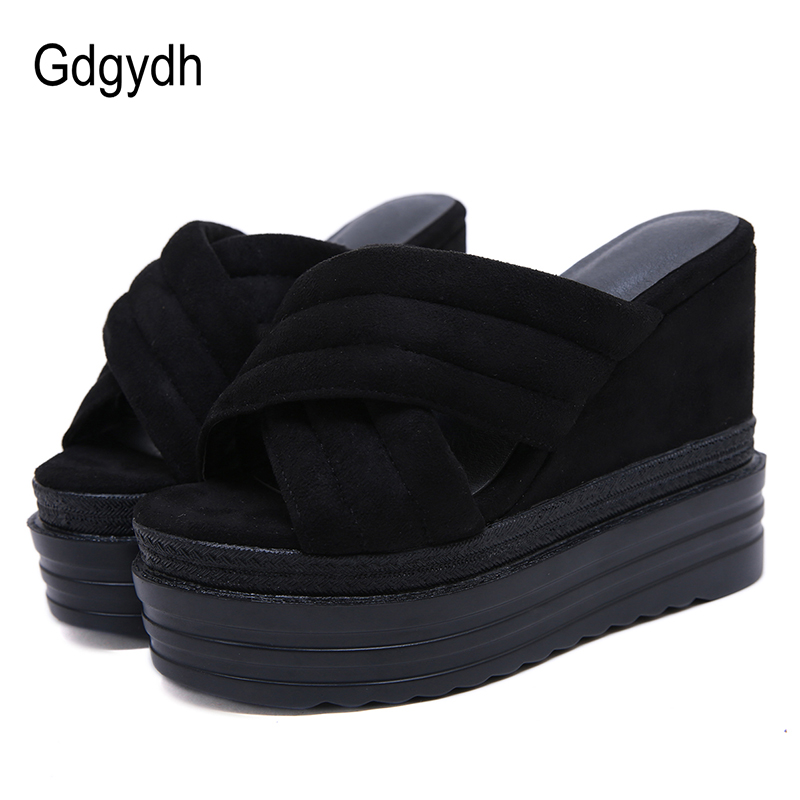 Gdgydh Women Sandals Platform Heels Suede Black Ladies Casual Shoes On Summer Women Heel Wedges Sandals Comfortable Footwear NewGdgydh Women Sandals Platform Heels Suede Black Ladies Casual Shoes On Summer Women Heel Wedges Sandals Comfortable Footwear New
