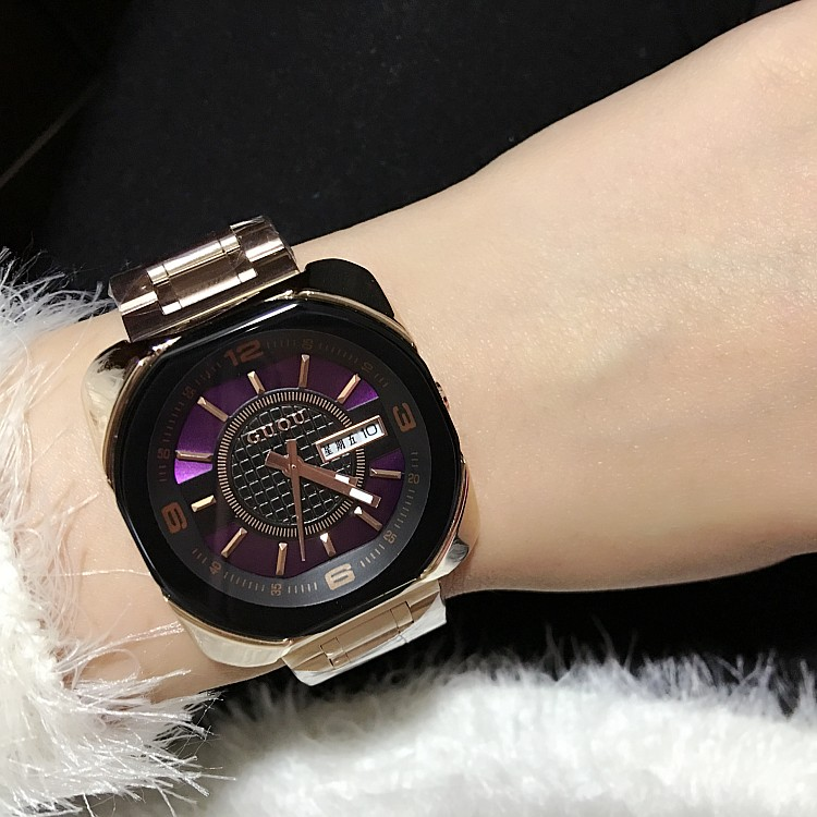 ФОТО 6 Colors Women Watches Lady Luxury Stainless Steel Rose Gold Wristwatch Men Women Square Quartz Dress Watches GUOU8156