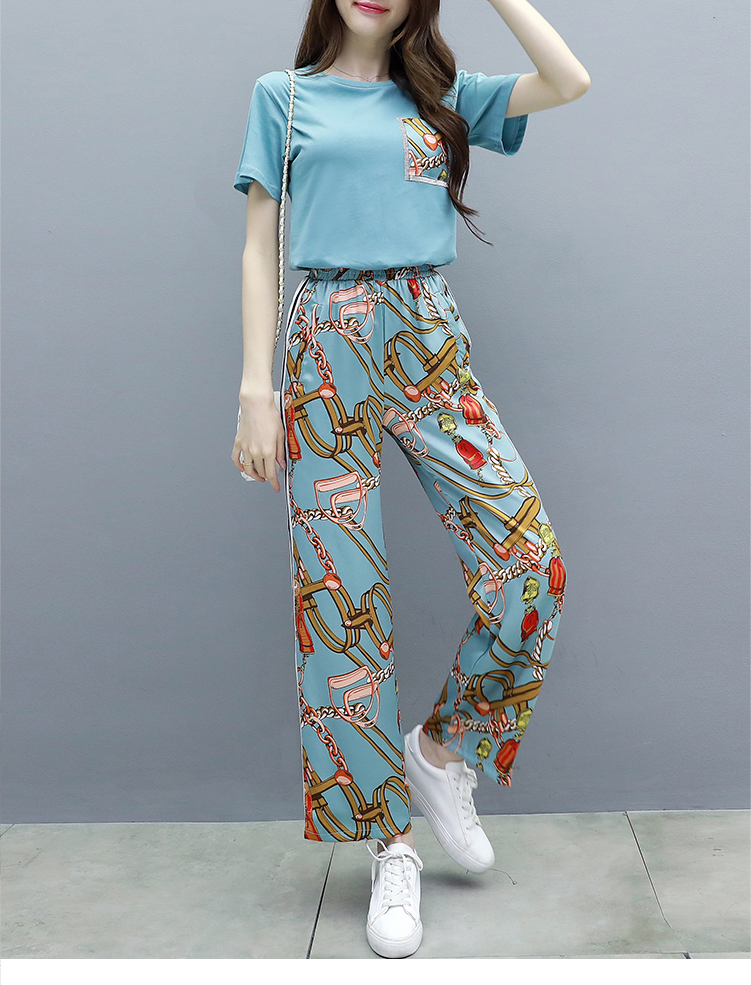 L-5xl Summer Printed Two Piece Sets Women Plus Size Short Sleeve T-shirts And Wide Leg Pants Suits Casual Fashion Women's Sets 34