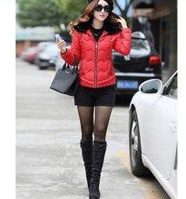 Women Fashion Winter New Cotton Down jacket Thickening Fur hats Short Coat Big yards Long sleeve Elegant Slim Ladies Coat G1845