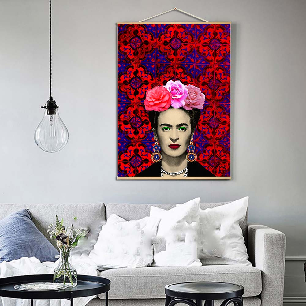 Frida Kahlo Potrait Painting Scroll Posters Prints Flowers