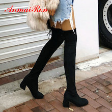 ANMAIRON Over-the-Knee Boots Slip-On Basic Round Toe Flock Women Boots Square Heel Winter Stretch Lycra Women Shoes Size 34-43 ldhzxc 2018 new fahion women knee square high heel snow boots slip on wedges heel round toe women shoes winter women snow boots