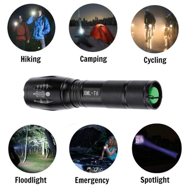 Anpro XML T6 Led Flashlight Q5 Mini Torch Lanterna Tactical Flashlight Zoomable Waterproof Protable Outdoor Camping Bike Light 5