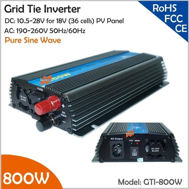 800W Grid Tie Micro Inverter, 10.5-28V DC to AC 190-260V Pure Sine Wave Inverter for 18V wind solar hybrid power system