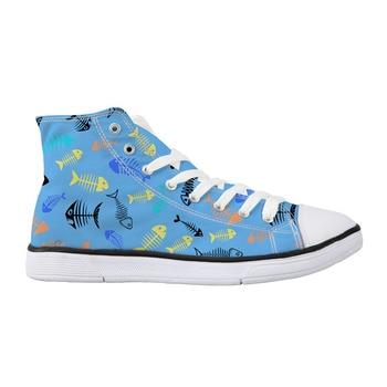 44516c32f Весенние мужские кроссовки с высоким берцем, парусиновые туфли с принтом  акулы для мужчин, туфли с рыбками и животными, повседневная мужска.