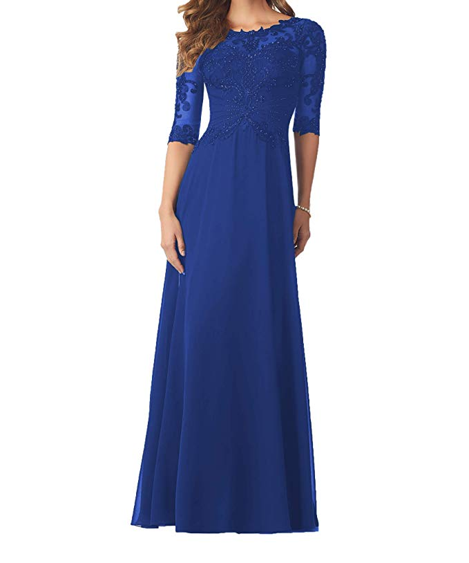 Women 39 s 3 4 Sleeves Chiffon With Lace Appliques Beaded Mother Of Bride Dress Formal Eveving Growns Vestido Madre De La Novia in Mother of the Bride Dresses from Weddings amp Events