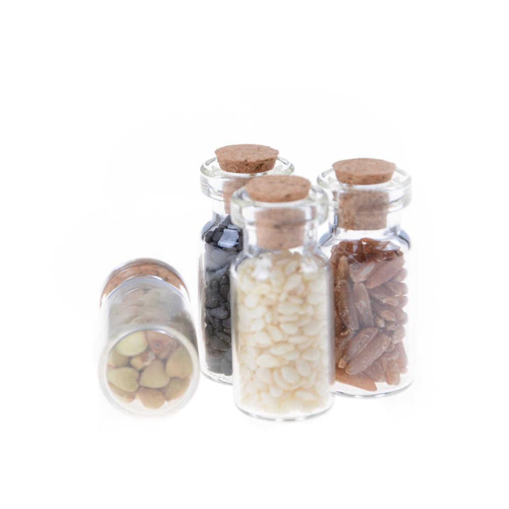Mini 1/12 Dollhouse aksesuarları Mobilya Minyatür Kuru cam şişe tahıl 4 adet/grup Rastgele Mutfak aksesuarları