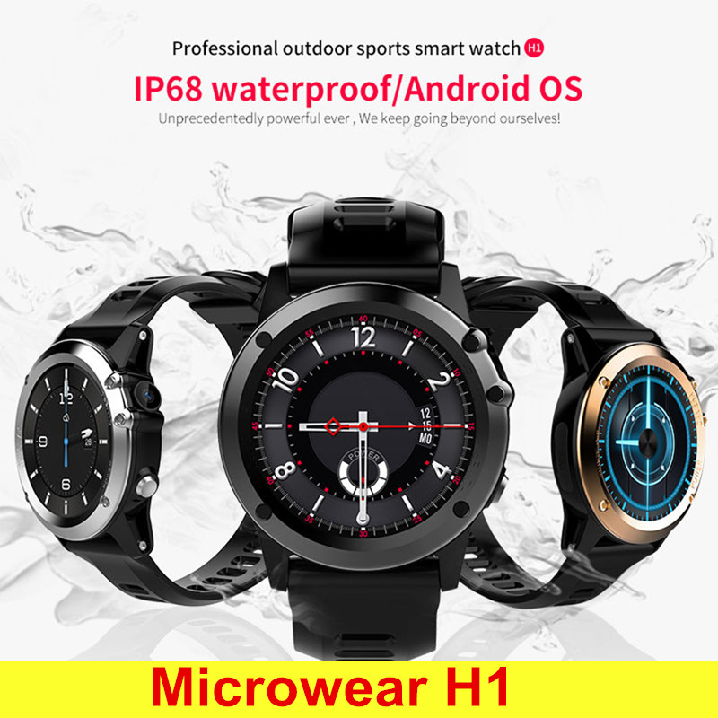 Microwear H1 3G Smartwatch Phone 1.39 Inch Android 4.4 Smart Watch MTK6572 4GB GPS Watch Waterproof IP68 2.0MP Camera Pedometer pair of starfish shape earrings for women