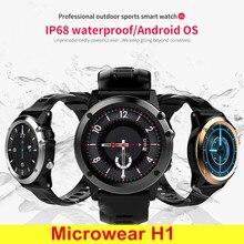 Microwear H1 3G Smartwatch Phone 1.39 Inch Android 4.4 Smart Watch MTK6572 4GB GPS Watch Waterproof IP68 2.0MP Camera Pedometer