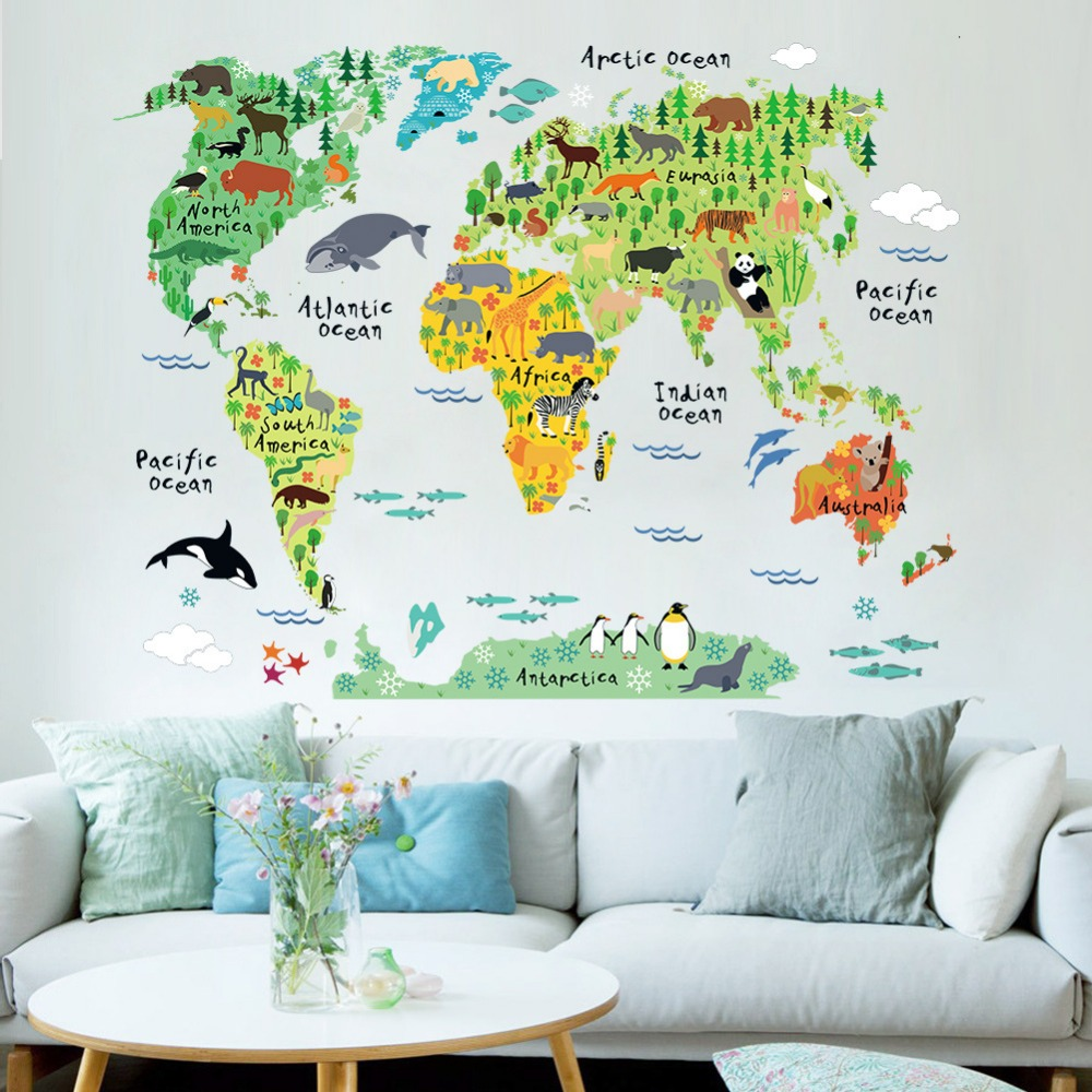 Wall stickers childrens bedroom - Home Decor Animal World Map Background Wall Stickers Living Room Bedroom Wholesale Removable Waterproof Kids Studyroom