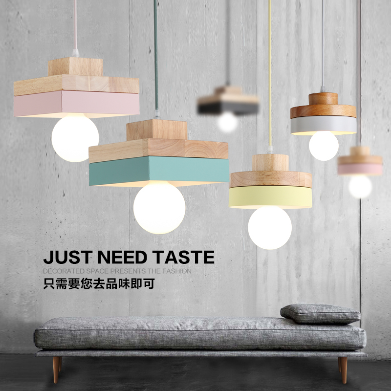he Nordic modern minimalist bedroom small chandelier iron wood bowl hall creative personality Macarons restaurant LED lamp