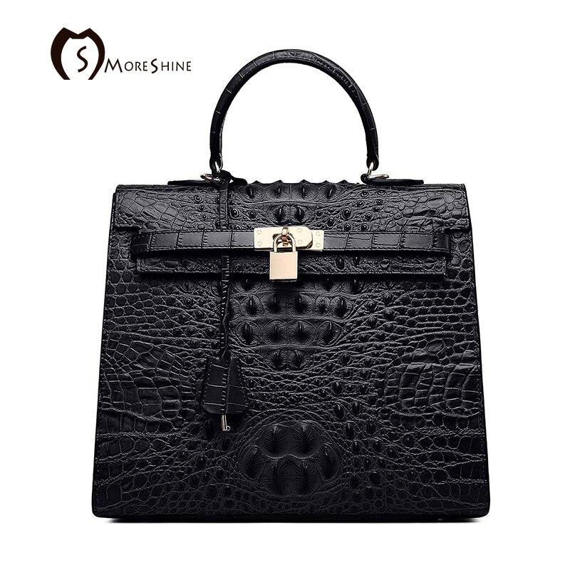 MORESHINE brand Women Crocodile Genuine leather handbags High grade Lock design women's cow leather bag Female shoulder bag tote