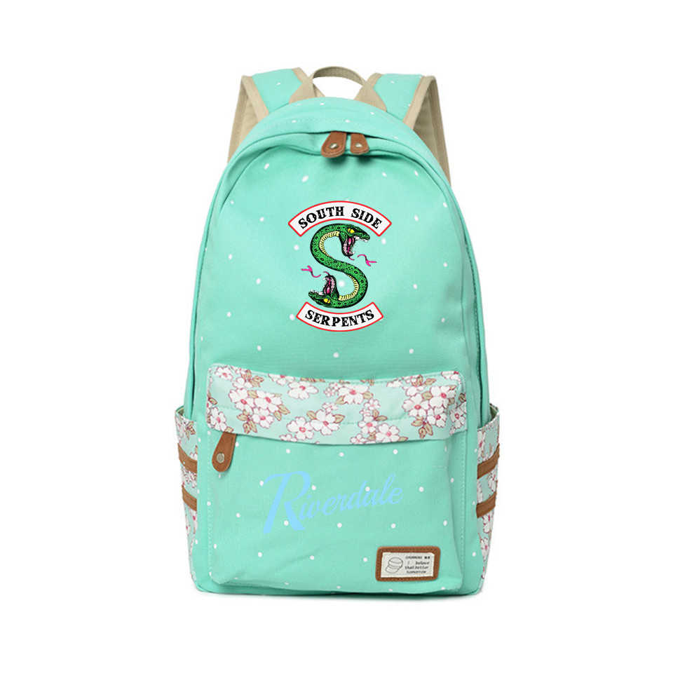 2018 Riverdale Backpack Teenagers Backpacks American TV Show Riverdale South Side Travel Kawaii Fashion Flower Wave Point Bags