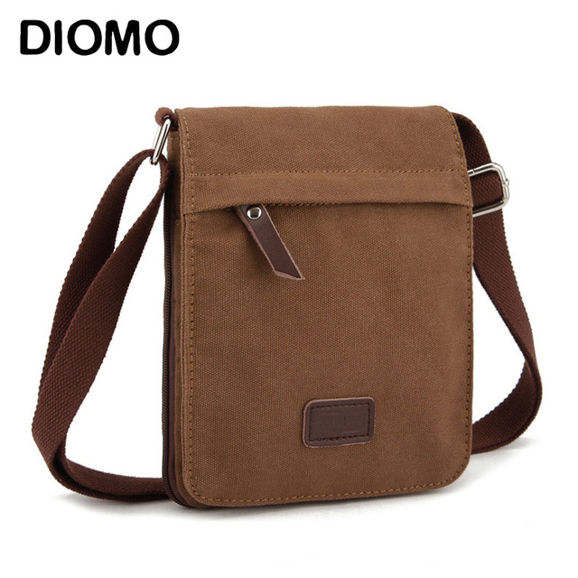 Diomo Small Canvas Men Bag Messenger Business Casual Crossbody Male Shoulder Bags
