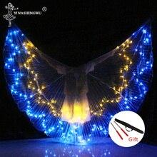 Alas de LED de danza del vientre, accesorios de baile LED coloridos, alas LED ISIS para adultos, accesorios profesionales de danza del vientre con palos