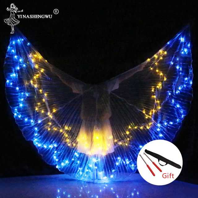 Belly Dance LED Wings Colorful LED Dance Props Newest LED ISIS Wings Adults Belly Dance Professional Accessory With Sticks