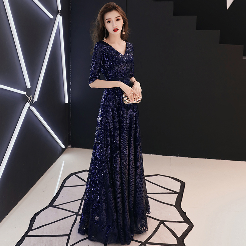 Blue Sequined Evening Dress 2019 New Fashion Half Sleeve Sexy V-neck A-line Prom Party Dresses Haute Couture