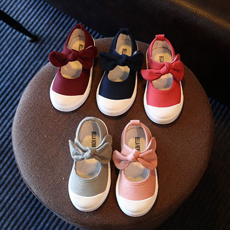 Fall 2019 Children Shoes Girls Canvas Shoes Fashion Bowknot Comfortable Kids Casual Shoes Sneakers Toddler Girls Princess Shoes