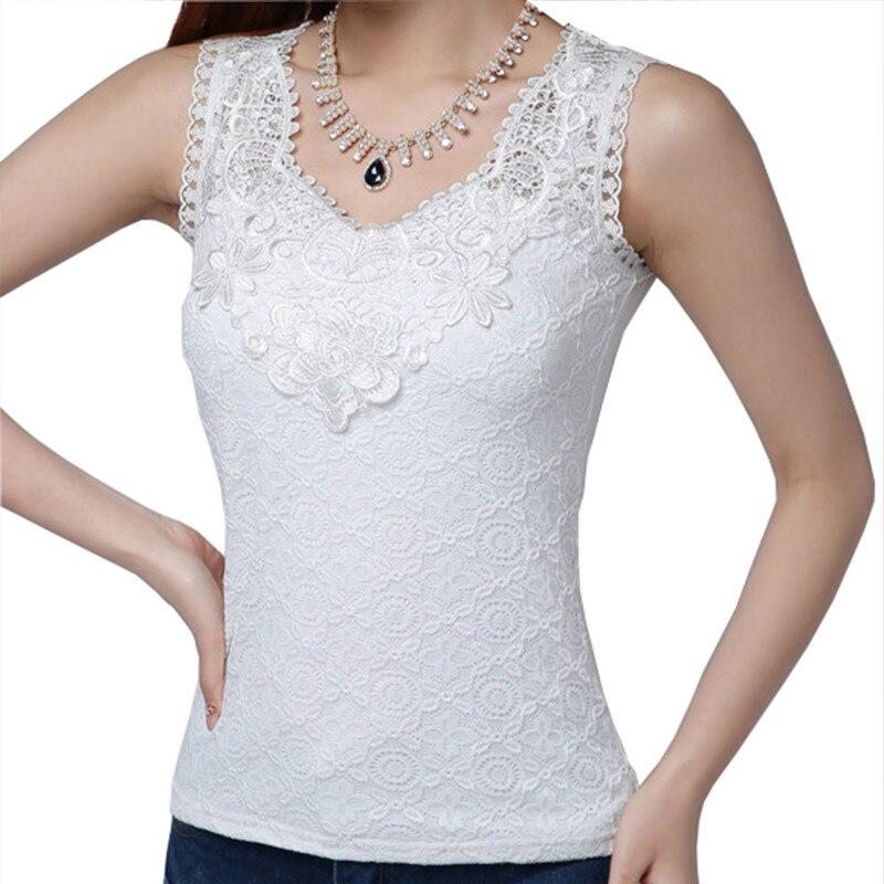 San Francisco bb7d1 ce2b1 € 13.99 30% de réduction|Nouveau femmes dentelle blouse chemise blanc noir  sans manches mode bureau été haut d'automne femme vêtements S 3XL-in ...