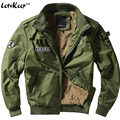 Letskeep novo 2016 grossas de inverno bombardeiro jaquetas homens do exército militar Outerwear Jaqueta de algodão mens Air force one Masculino Casacos 4XL, MA235